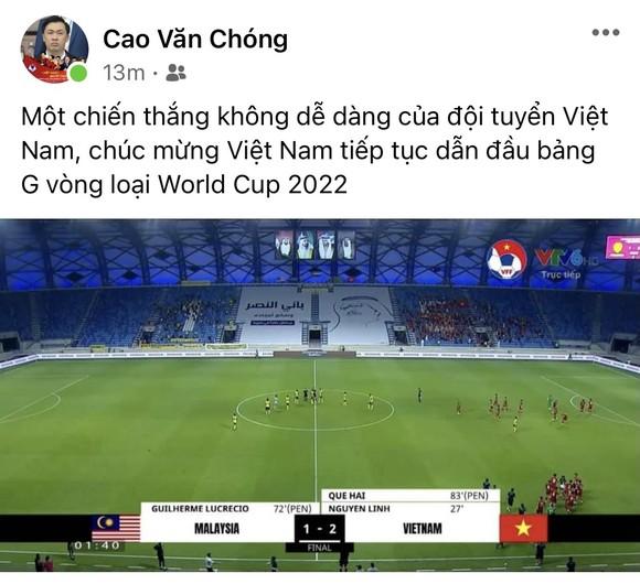 Hùng Dũng cùng con trai chúc mừng chiến thắng của tuyển Việt Nam ảnh 2