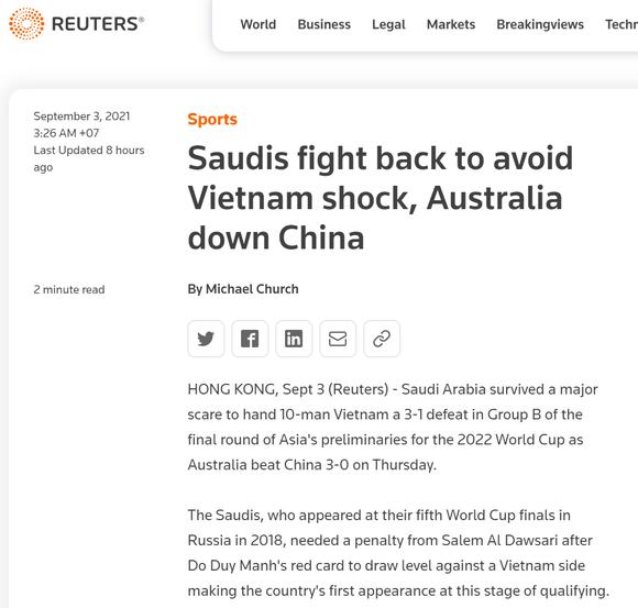 Truyền thông quốc tế chọn thẻ đỏ của Duy Mạnh làm điểm nhấn trận Saudi Arabia - Việt Nam ảnh 1