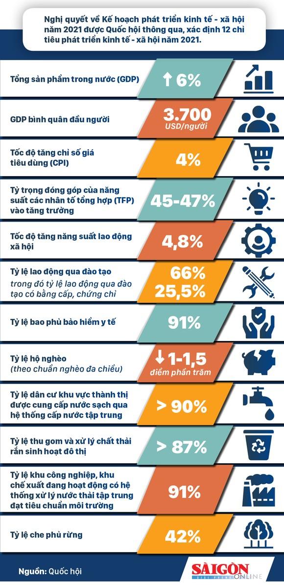 12 chỉ tiêu phát triển kinh tế - xã hội năm 2021 ảnh 1
