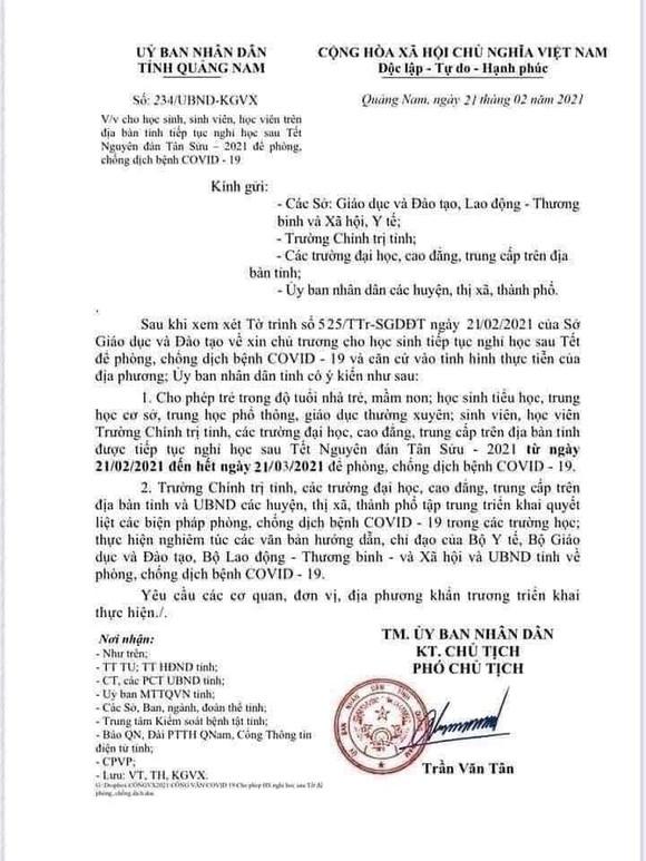 Xuất hiện văn bản giả cho học sinh tiếp tục nghỉ học tại Quảng Nam ảnh 1