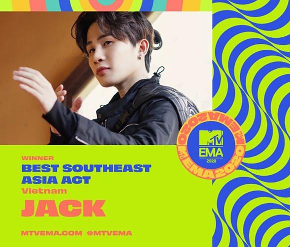 Jack giành giải Nghệ sĩ Đông Nam Á xuất sắc nhất MTV EMA 2020 ảnh 1