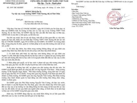 Liên quan vụ nữ sinh nghi tự tử: Tạm đình chỉ hiệu trưởng và hiệu phó Trường THPT Vĩnh Xương  ảnh 1