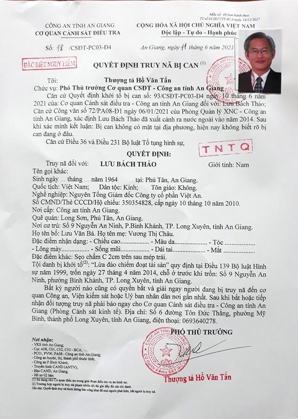 Truy nã đặc biệt nguy hiểm nguyên Tổng Giám đốc Công ty CP Việt An  ảnh 1