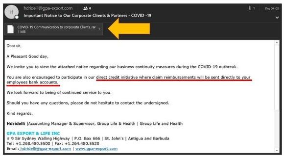Một ví dụ về email lừa đảo được phát hiện bởi Kaspersky