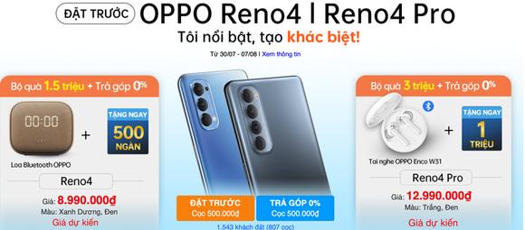 OPPO Reno4 và Reno4 Pro ghi nhận hơn 2.500 khách hàng đặt cọc đầu tiên