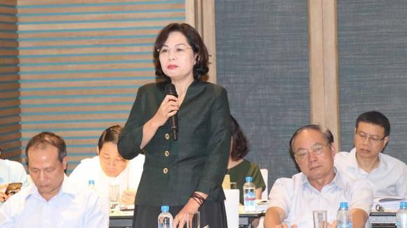 Phó Thống đốc Ngân hàng Nhà nước Việt Nam Nguyễn Thị Hồng phát biểu tại phiên họp. Ảnh: TTXVN