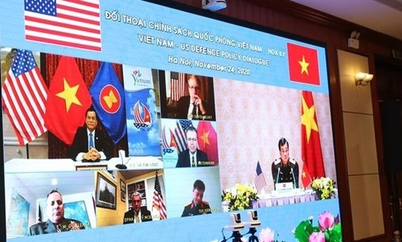 The virtual 2020 Vietnam-US defence policy dialogue (Photo: VNA)