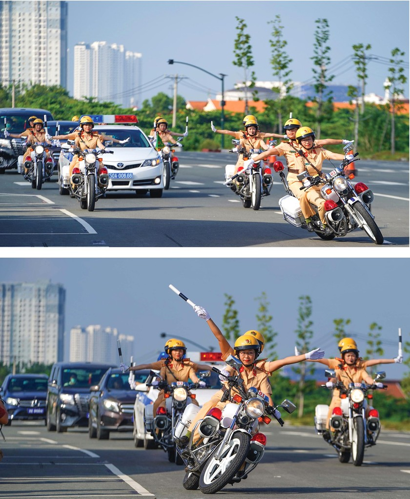 City's traffic policewomen team parades on street ảnh 3