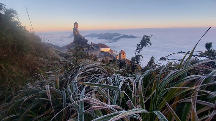 Beautiful landscape on Fansipan mountaintop covered in snow, ice  ảnh 1