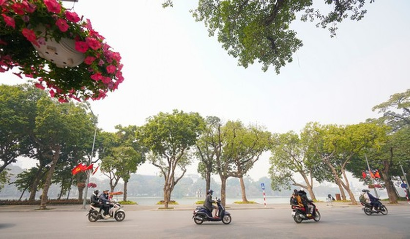 Hanoi streets covered with flags, flowers to welcome National Party Congress ảnh 5