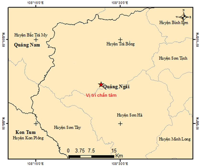 Two earthquakes consecutively hit Tra Bong mountainous district in Quang Ngai ảnh 1