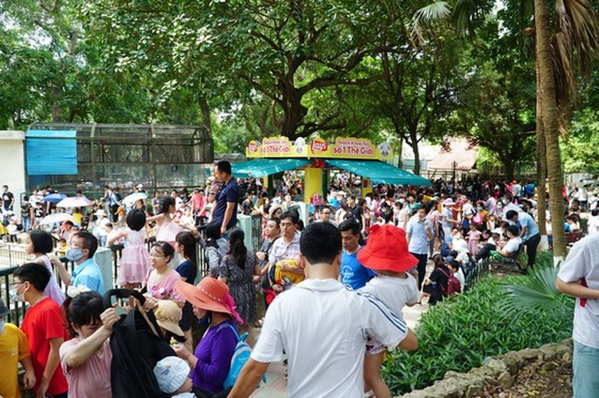Hanoi residents gather at Thu Le park on Hung Kings Commemoration Day ảnh 1