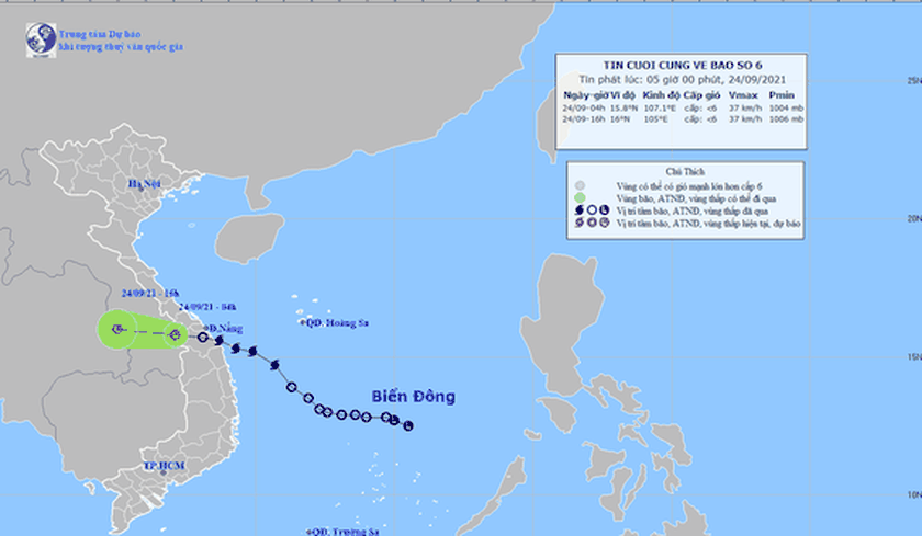 Storm Dianmu downgrades to low-pressure zone as of September 24 morning  ảnh 1