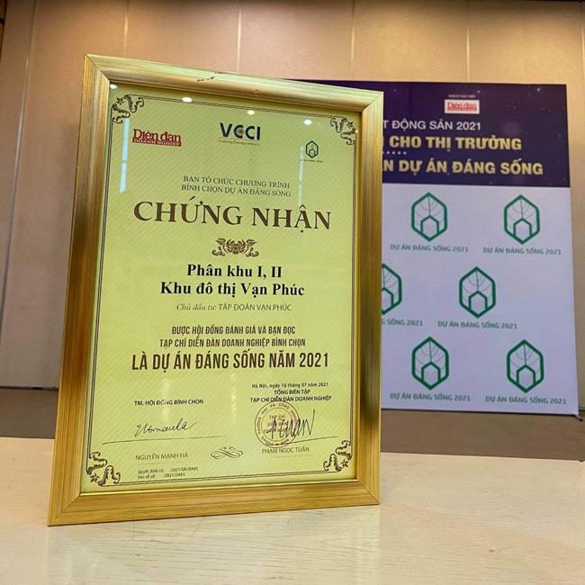 Van Phuc City nhận giải thưởng Dự án đáng sống 2021 ảnh 1