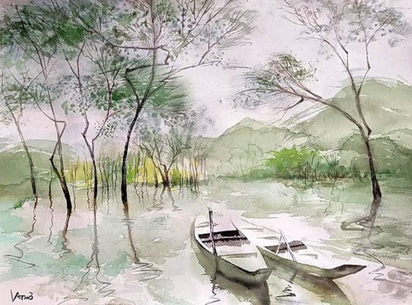 Painting exhibition of sacred land of Con Dao presented in HCMC ảnh 12