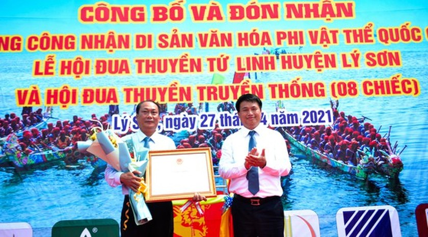 Ly Son island's traditional boat race certified as national intangible cultural  ảnh 1