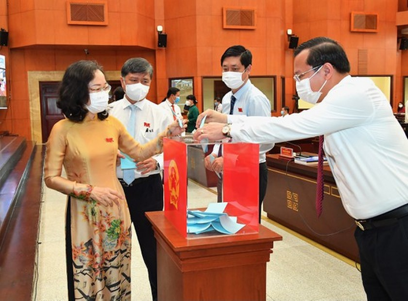 Top leaders of HCMC People's Council, People's Committee re-elected ảnh 6