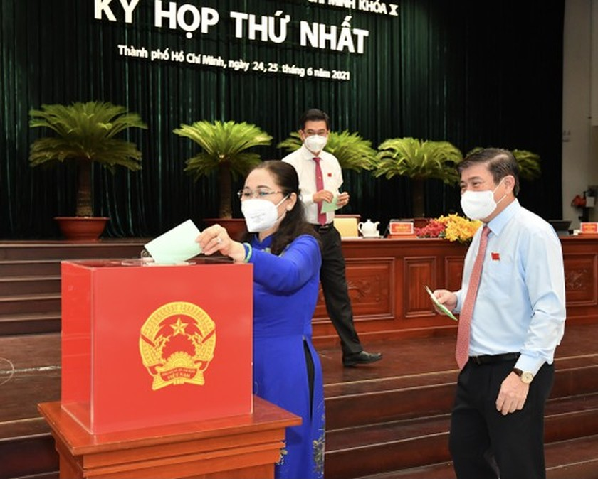 Top leaders of HCMC People's Council, People's Committee re-elected ảnh 4
